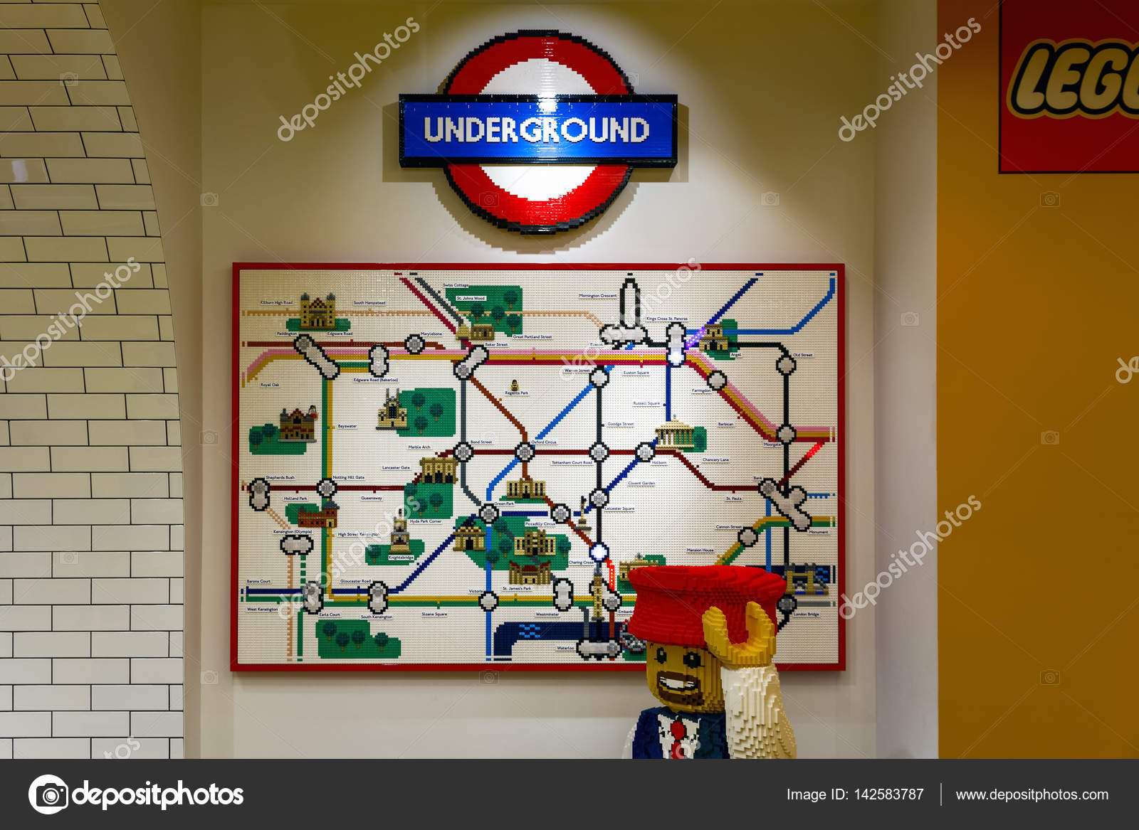 london uk november 22 2016 london underground map built from lego bricks displayed in the worlds largest lego store photo by victorhuang