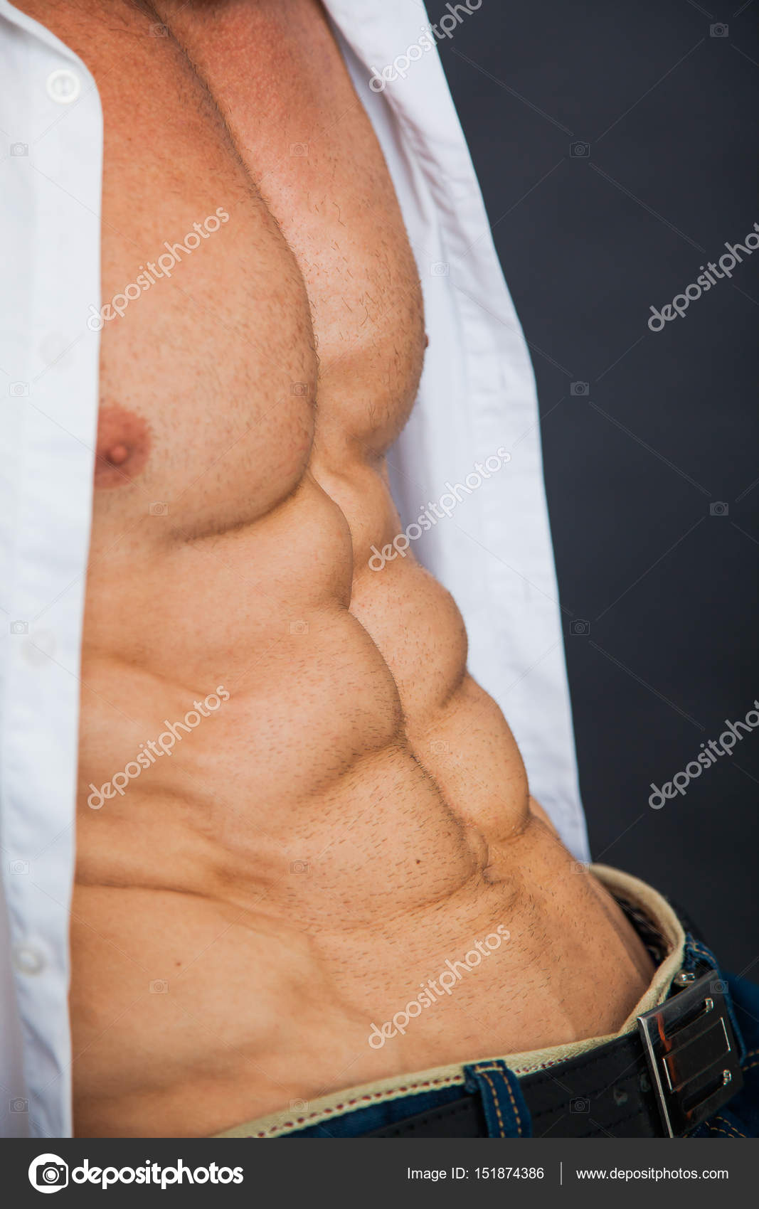 Male Muscular Torso With Six Pack Abs Stock Photo Klyots 151874386