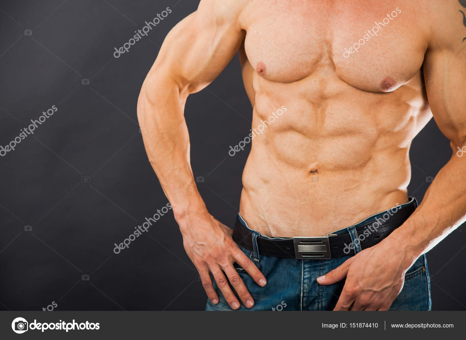 Male Muscular Torso With Six Pack Abs Stock Photo Klyots 151874410