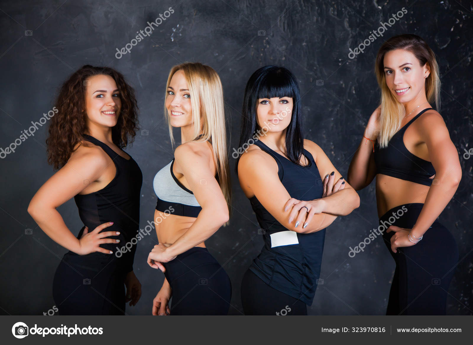Group Of Four Sportive Fit Women Smile And Pose At Studio On Grey Stock Photo C Klyots 323970816 Titles should be in good taste and include the woman's name if known. https depositphotos com 323970816 stock photo group of four sportive fit html