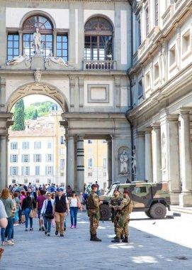 Florence, Tuscany, Italy - June, 06, 2016: Italian army guarding
