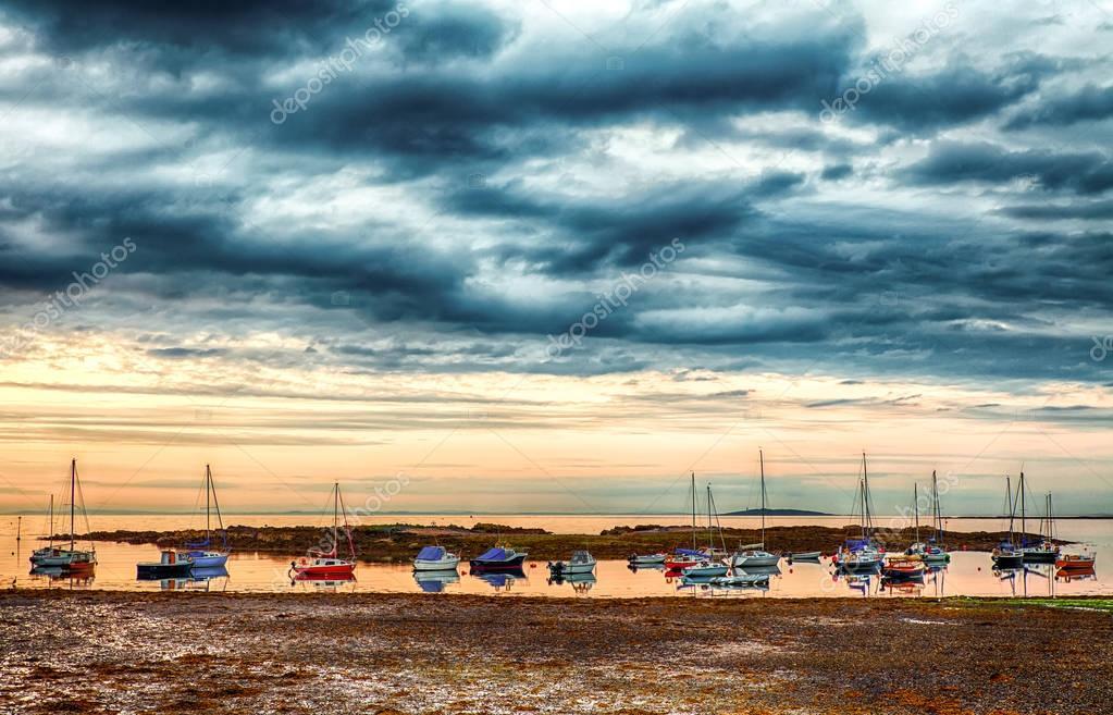 Boats at sunset, at Groomsport Marina, Bangor, Northern Ireland,