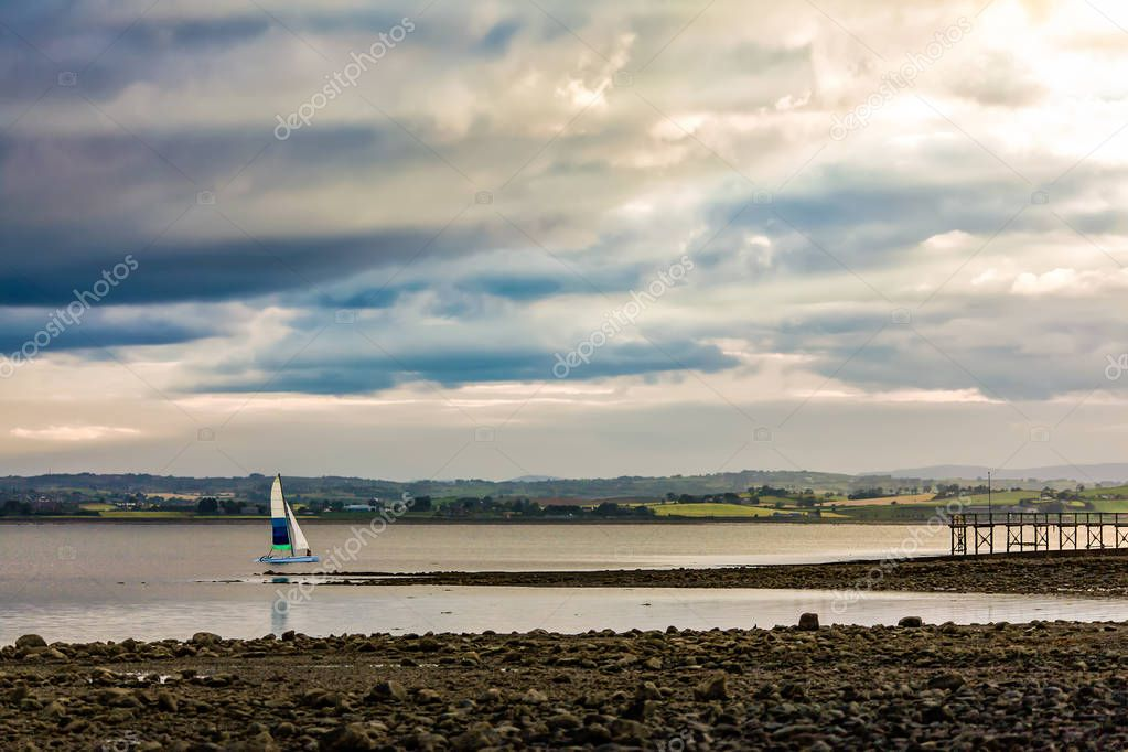 Yacht sailing on Strangford Lough, County Down, Northern Ireland