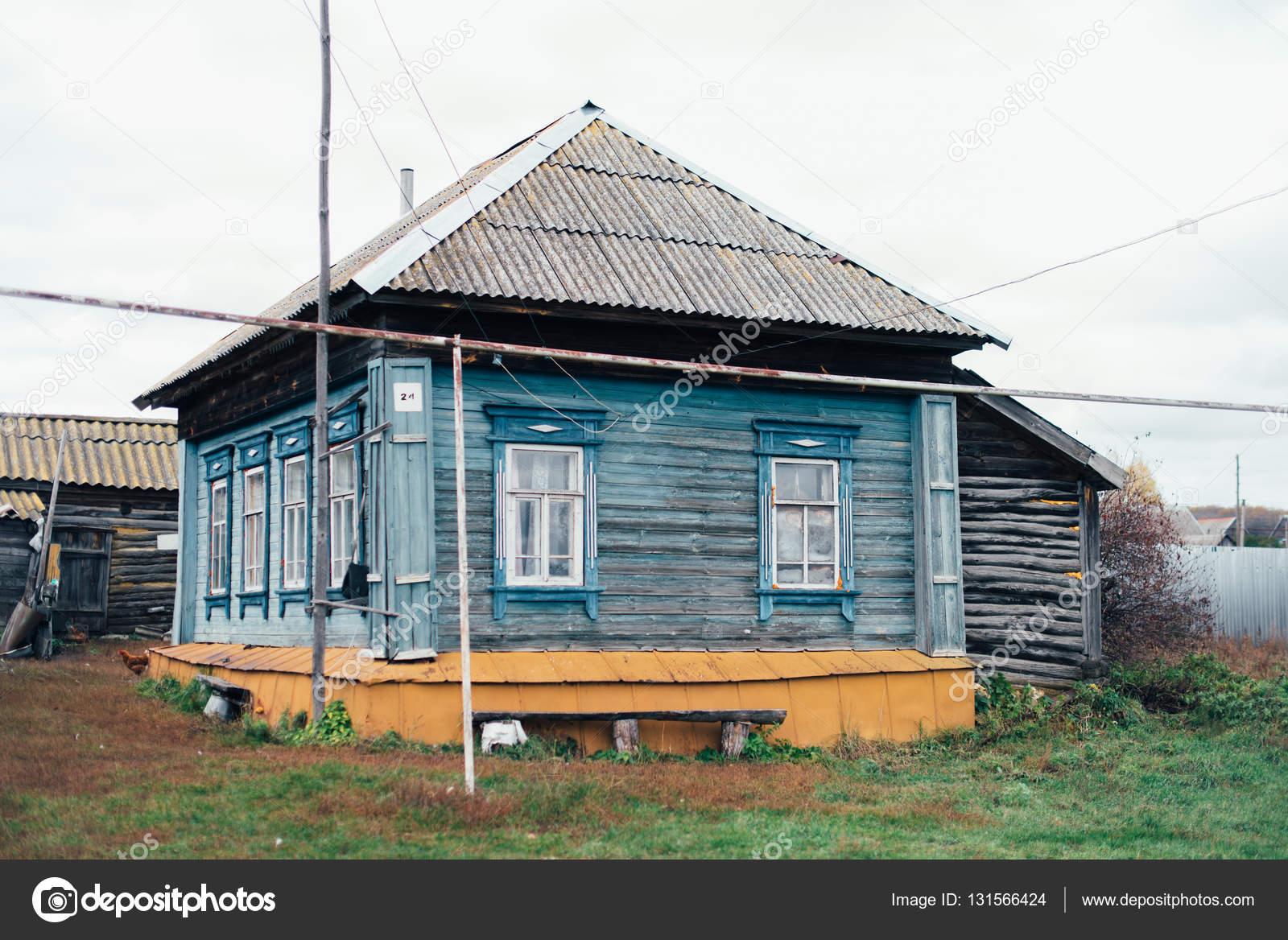 Beeindruckend Russisches Holzhaus Dekoration Von Im Russischen Dorf — Stockfoto