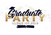 Diploma címke. Vector szöveg érettségi design, szerencsekívánat esemény, fél, középiskolai vagy főiskolai diplomás. Betűkkel osztály 2018-a üdvözlés, meghívó
