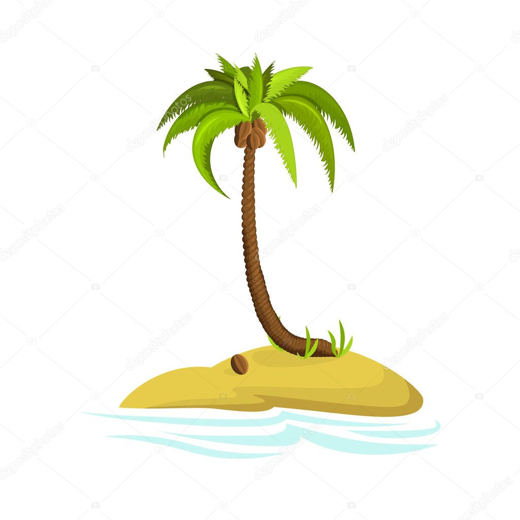 Palm Tree Island: Illustration Of A Palm Tree On An Island. Decorative Palm