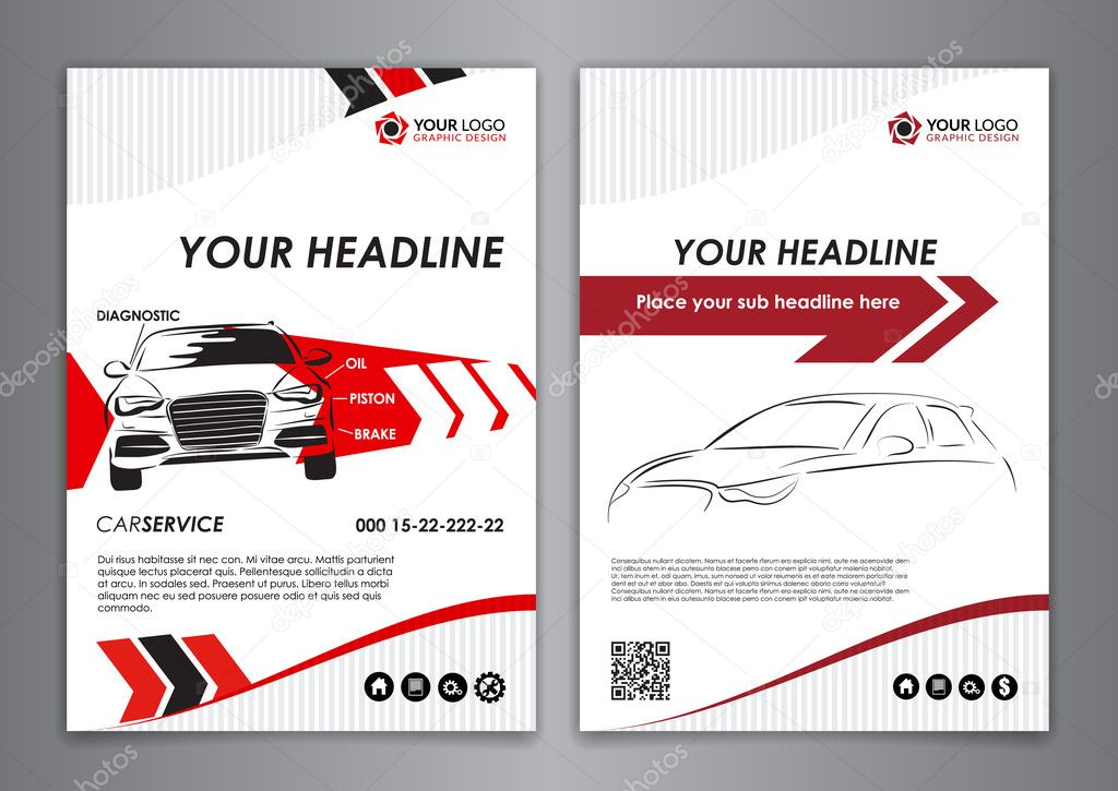 A5, A4 set service car business card templates. Car repair ...