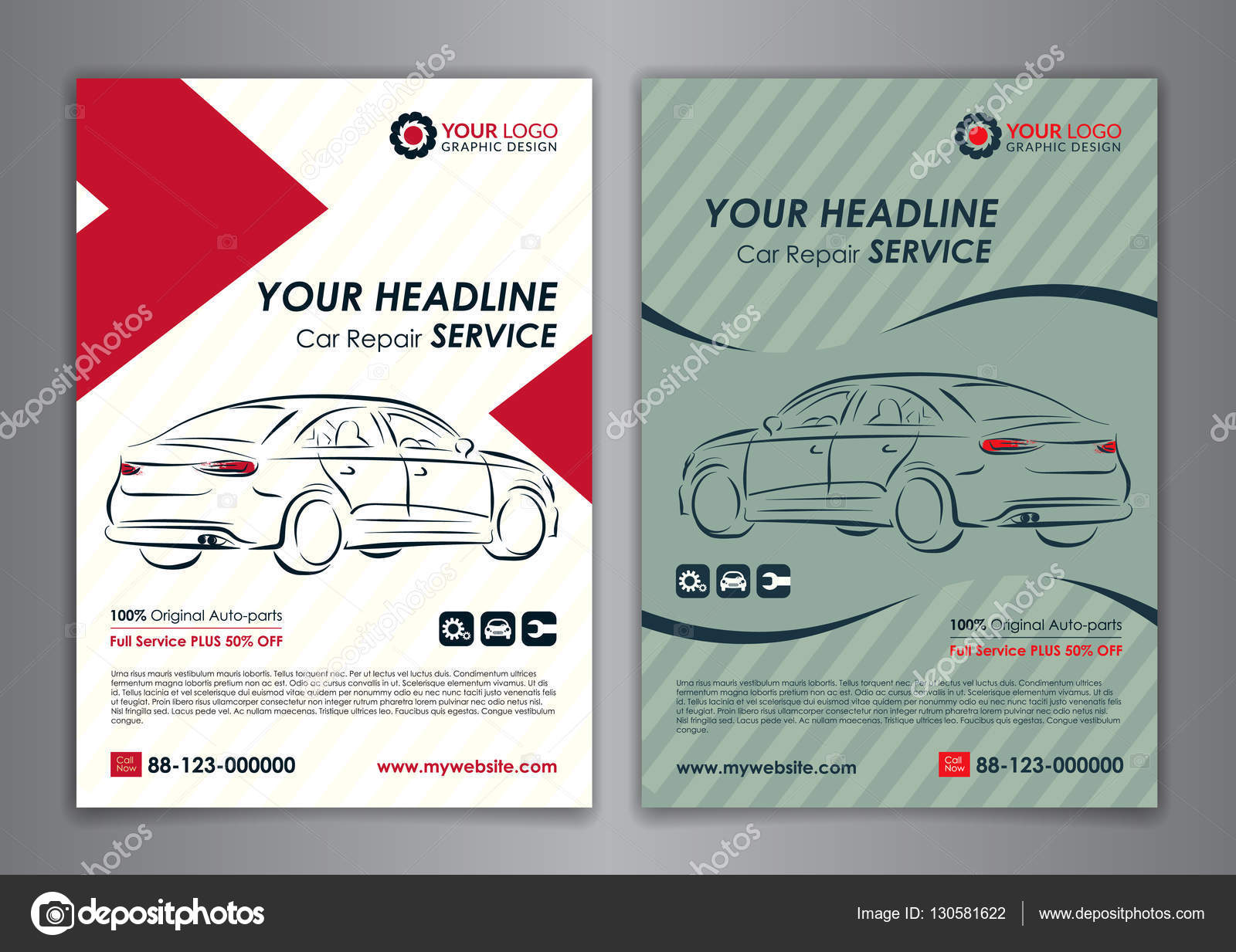 A5, A4 set car repair service business layout templates, automobile ...