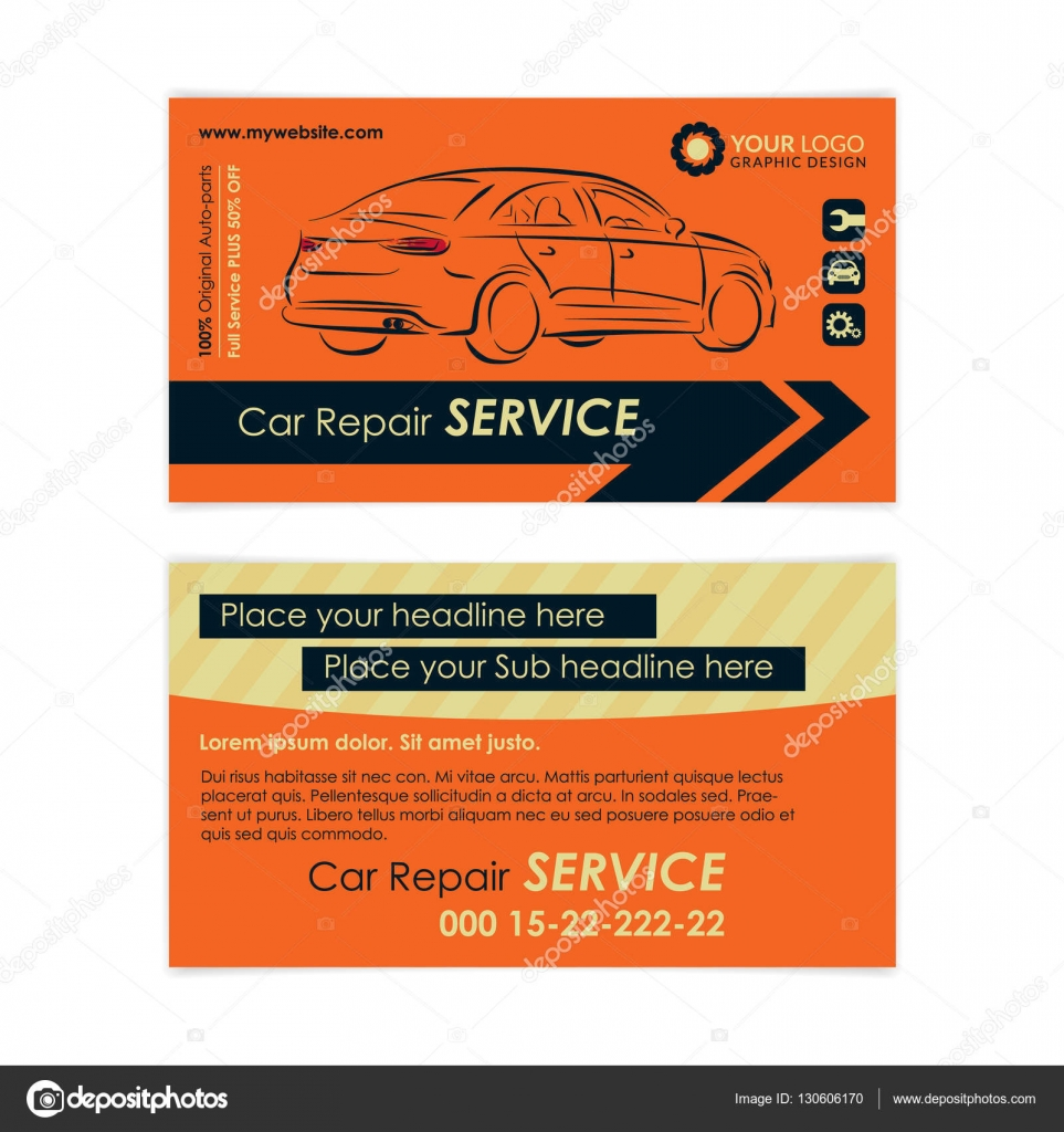 auto repair business card template create your own business cards mockup vector illustration - Auto Repair Business Cards
