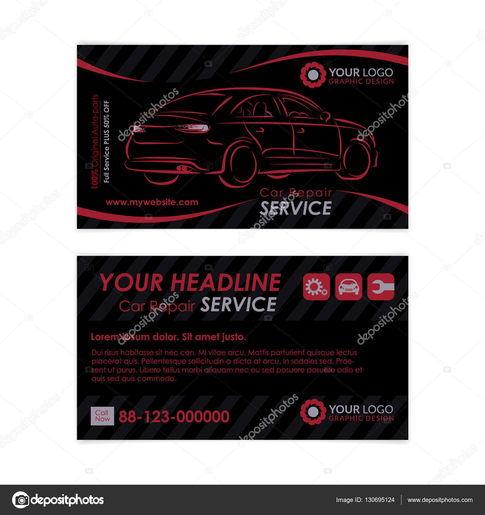 Auto repair business card template create your own business cards auto repair business card template create your own business cards mockup vector illustration cheaphphosting Images
