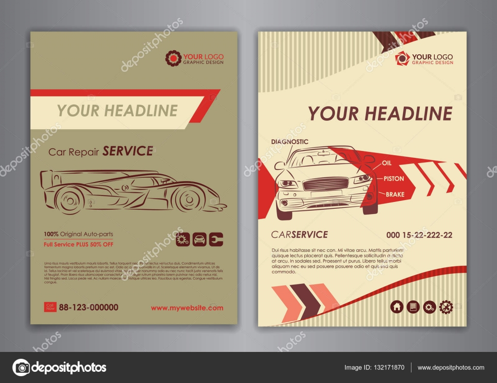 auto repair brochure templates mockup flyer abstract arrow modern