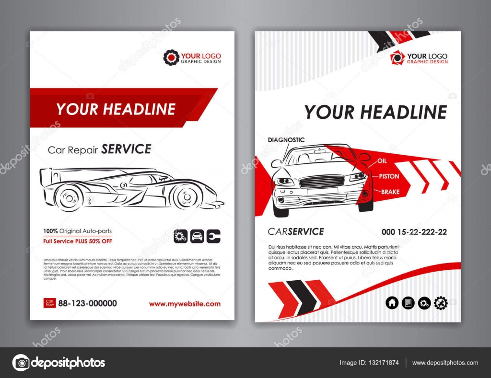 auto repair brochure templates mockup flyer abstract arrow modern
