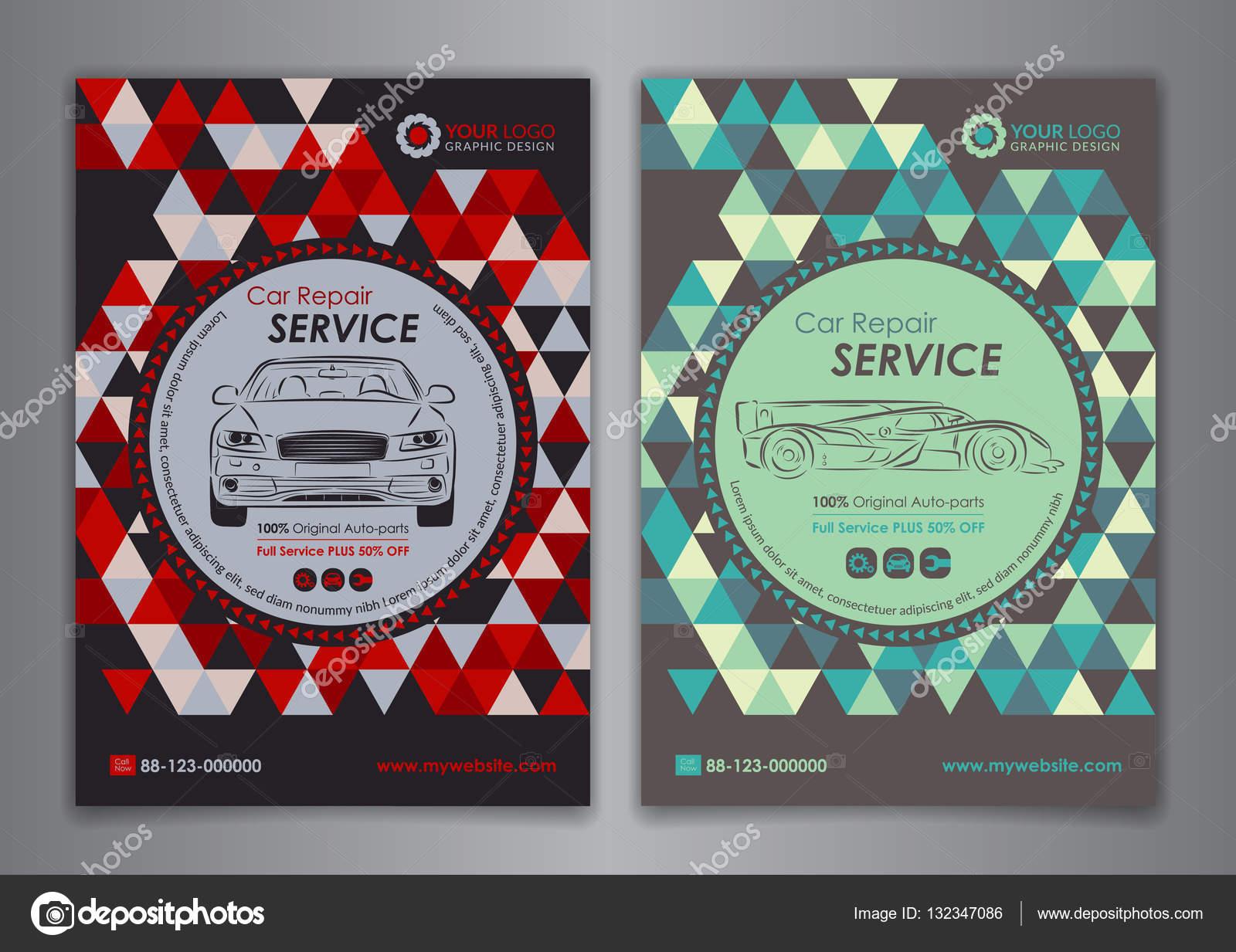 Auto-Reparatur-Broschüre Vorlagen, Mock-up Flyer, abstrakte ...