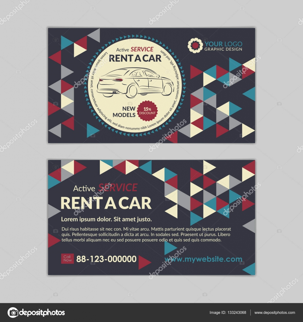 Rent a car business card template with abstract geometry pattern ...