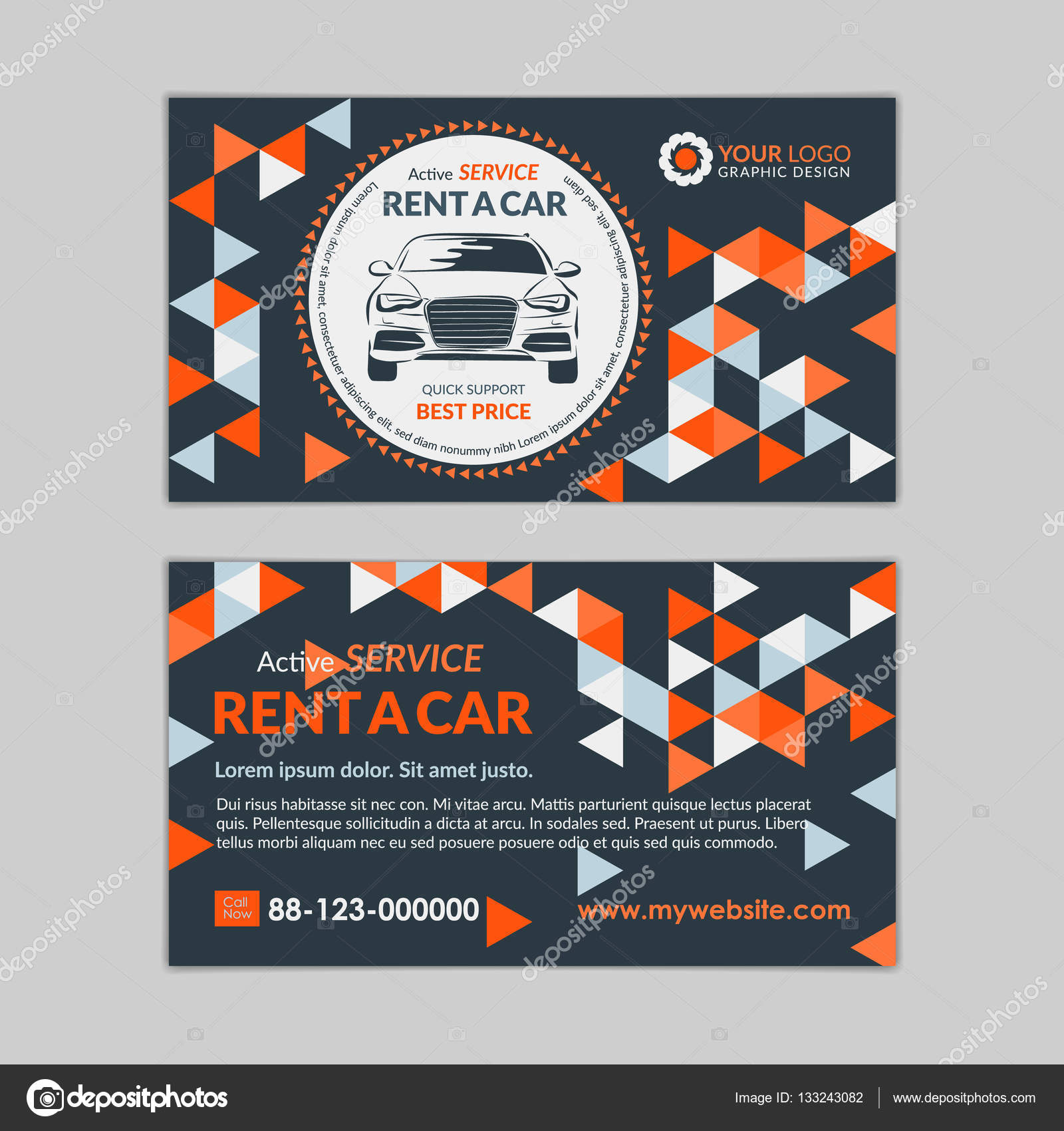 Rent a car business card template with abstract geometry pattern rent a car business card template with abstract geometry pattern triangle backgrounds auto service mockup create your own business cards reheart Image collections
