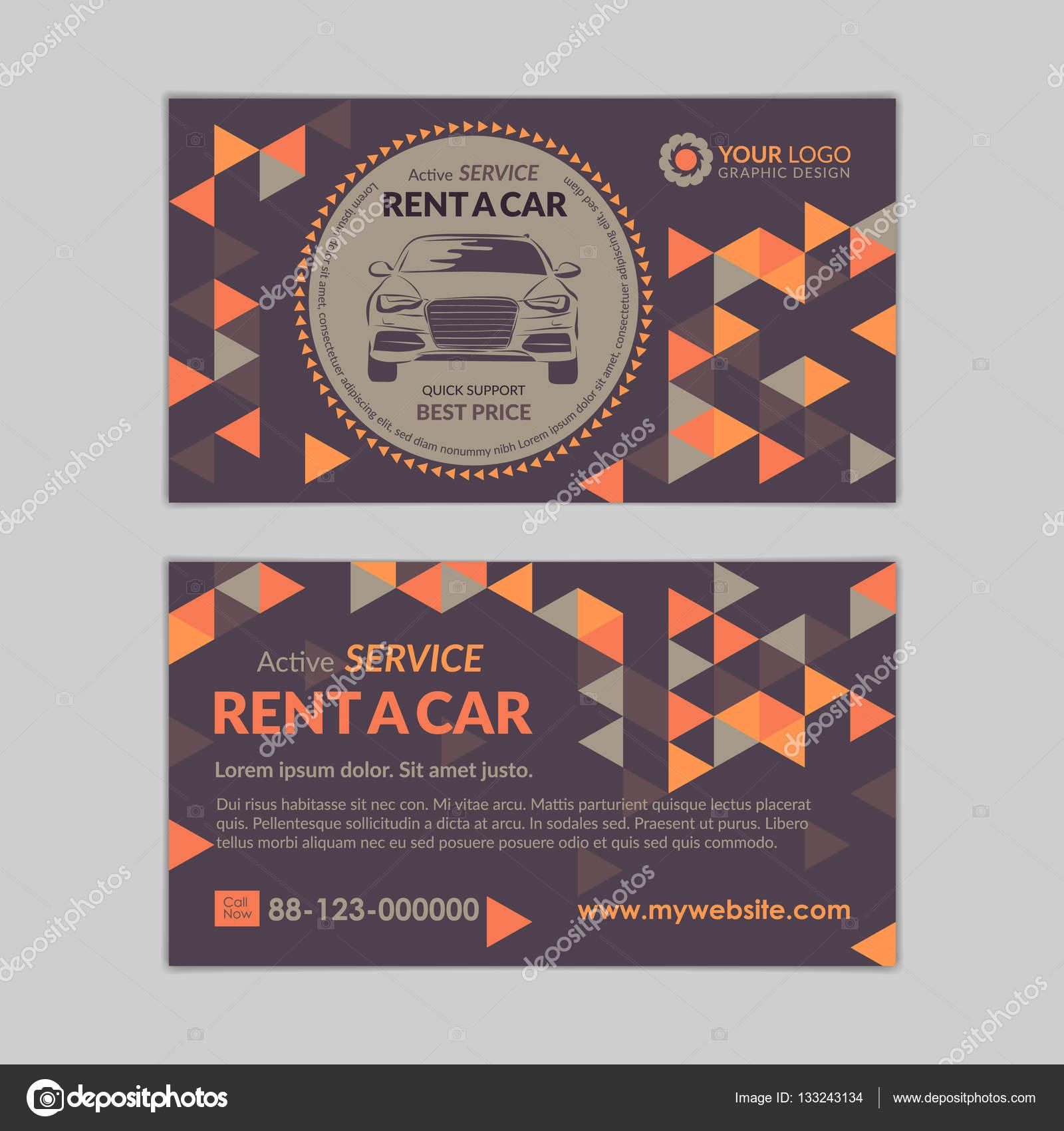 Huur Een Auto Sjabloon Voor Visitekaartjes Met Abstracte Geometrie