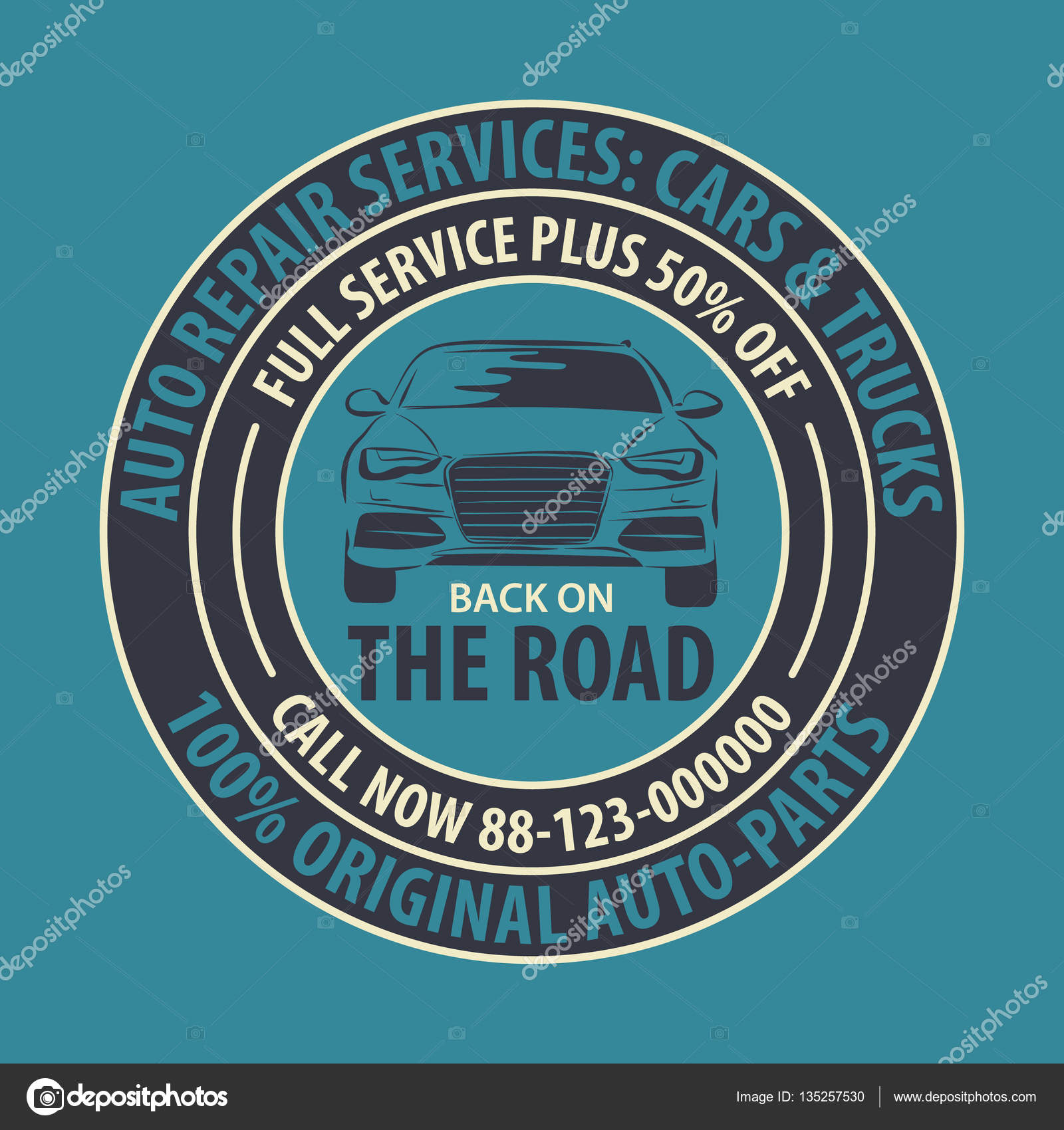 Farbige Auto Reparatur Service Abzeichen Vorlage. Auto Service Label ...
