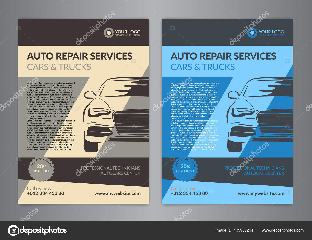 Automobil-Service-Center-Geschäft-Layout-Vorlagen. A5, A4 Auto ...