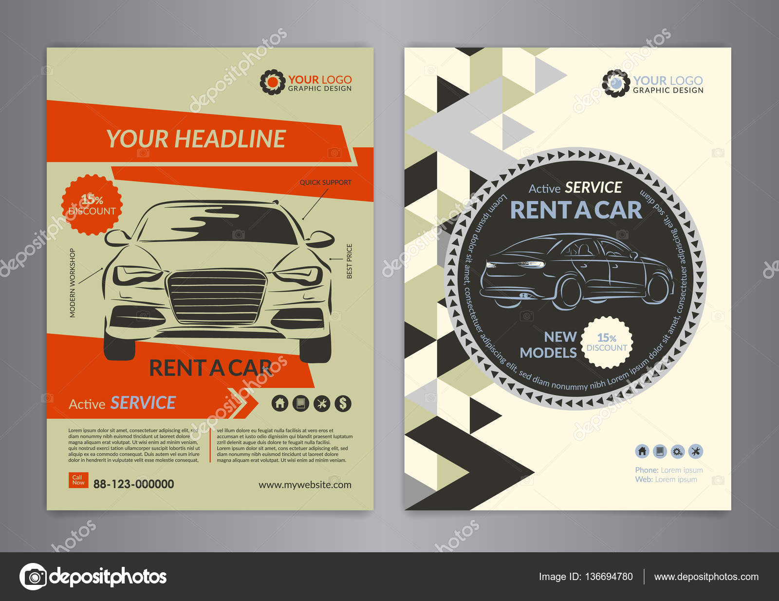 rent a car business flyer template auto service brochure templates automobile magazine cover