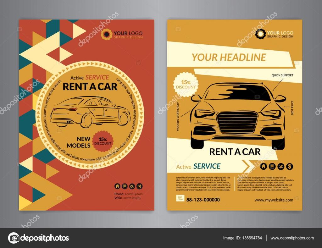 de una plantilla de volante de coche negocio. Auto servicio folleto ...