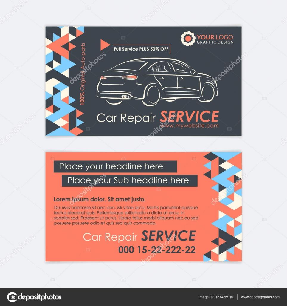 Modele De Carte Visite Service Automobile Auto Diagnostic Et Reparation Transport Creez Vos Propres Cartes