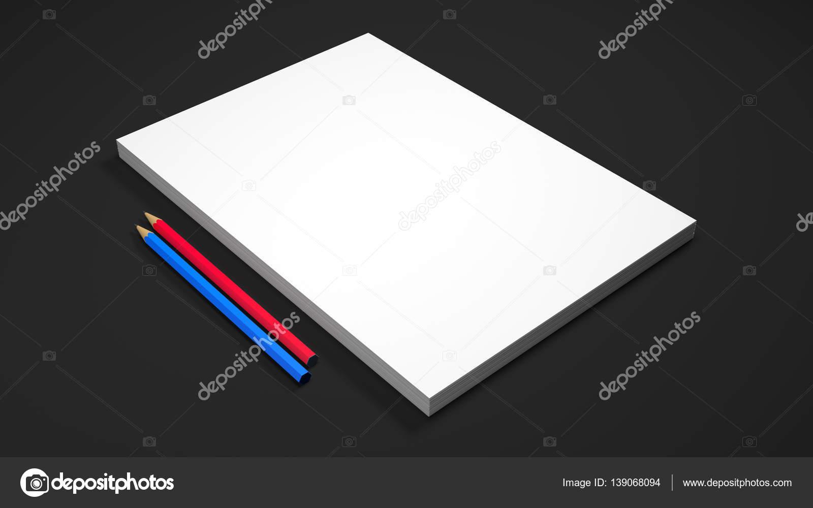 Hojas de papel blanco A4 con dos lápices sobre fondo negro. Render ...