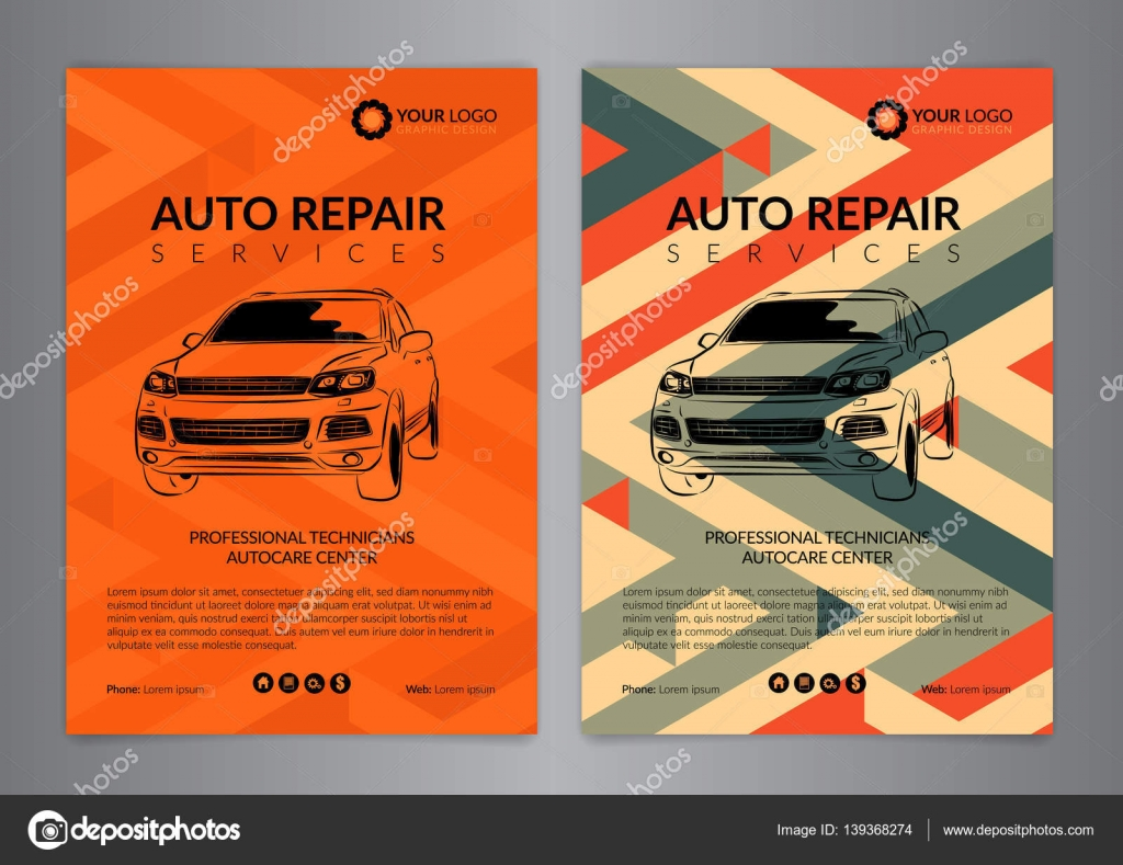Set auto repair business layout templates, automobile magazine cover ...