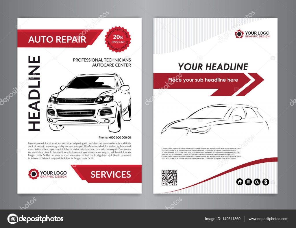 Set A4 auto repair business layout templates, automobile magazine ...