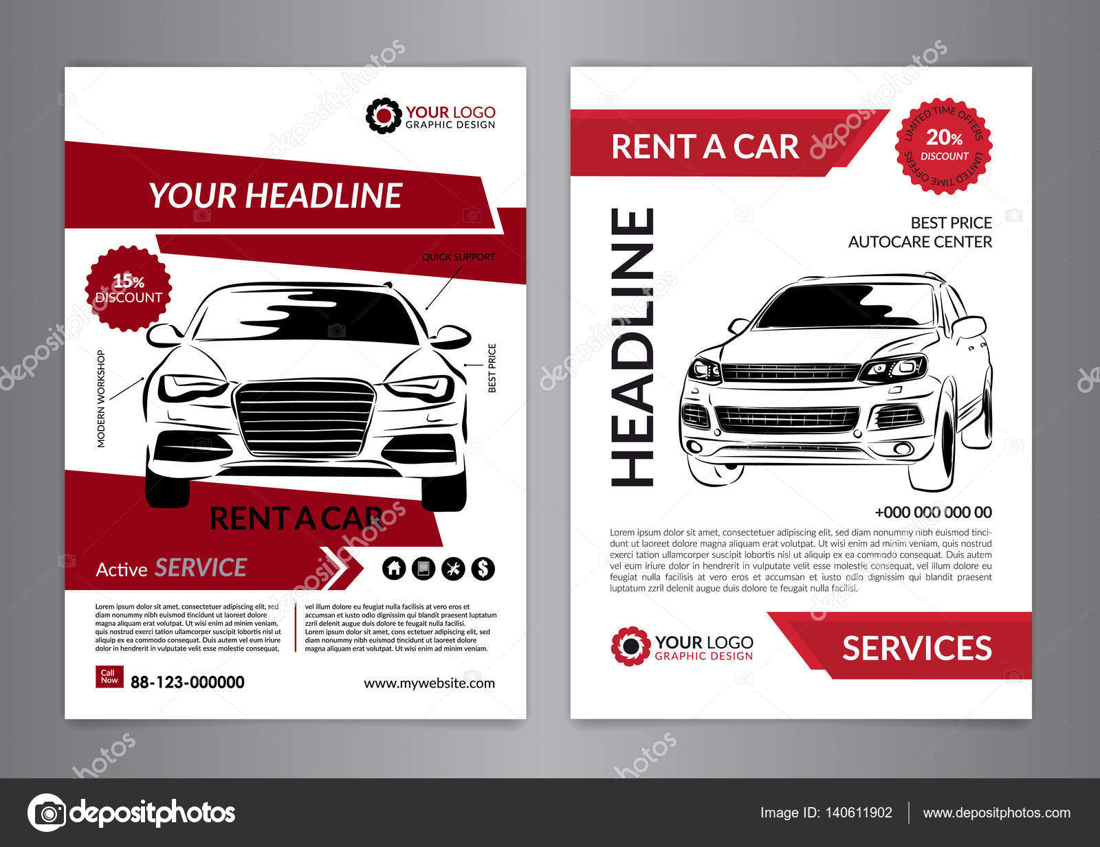 Set A4 rent a car business flyer template. Auto service Brochure ...
