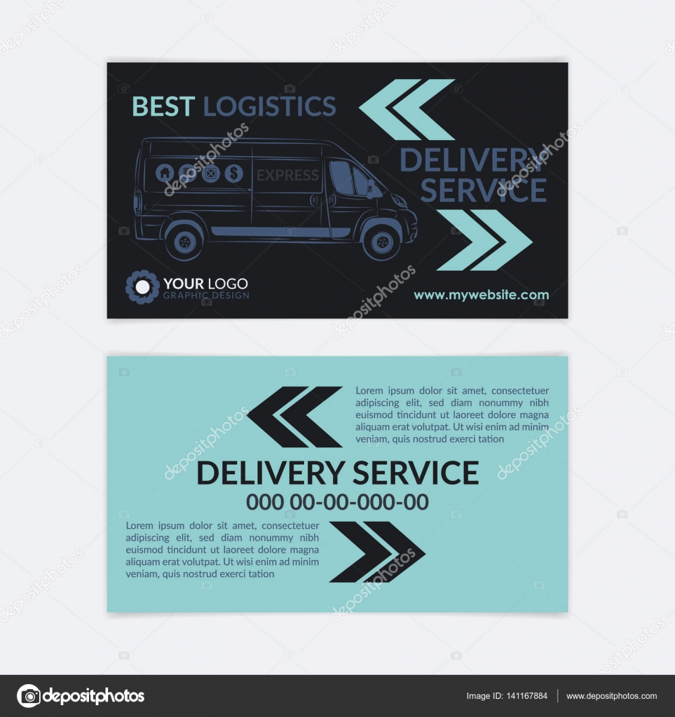 2 Sided Business Card Delivery service. Delivery van, logistics ...
