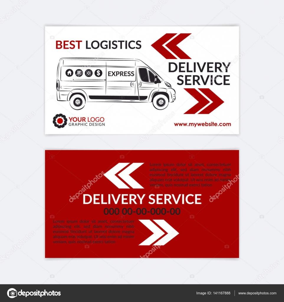 2 Doppelseitige Visitenkarten Lieferservice Lieferwagen