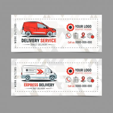 Set of Express delivery service banner, poster, flyer. Fast delivery service concept. Vector illustration.