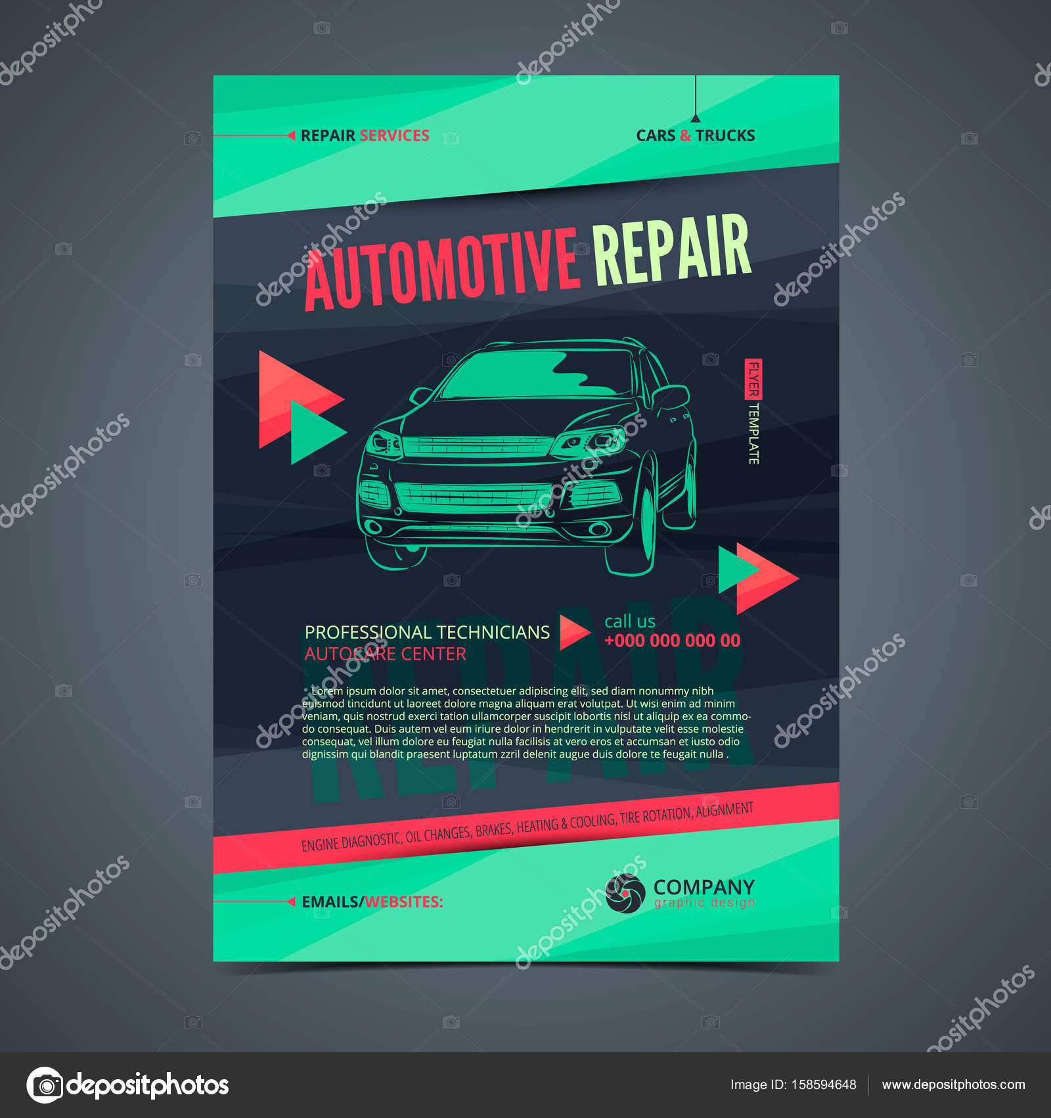 Auto Repair Services layout templates, automobile magazine cover ...