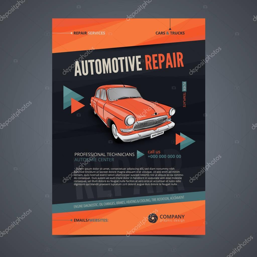 Auto Repair Services Layout Templates Automobile Magazine Cover Auto Repair Shop Brochure Mockup Flyer Vector Illustration Premium Vector In Adobe Illustrator Ai Ai Format Encapsulated Postscript Eps Eps Format