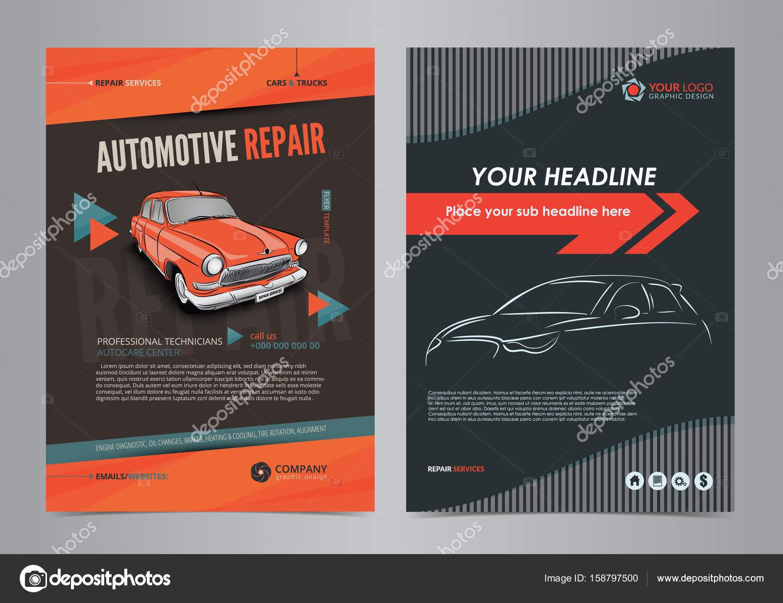 Auto-Services Business Flyer-Layout-Vorlagen, Kfz-Reparatur-Magazin ...