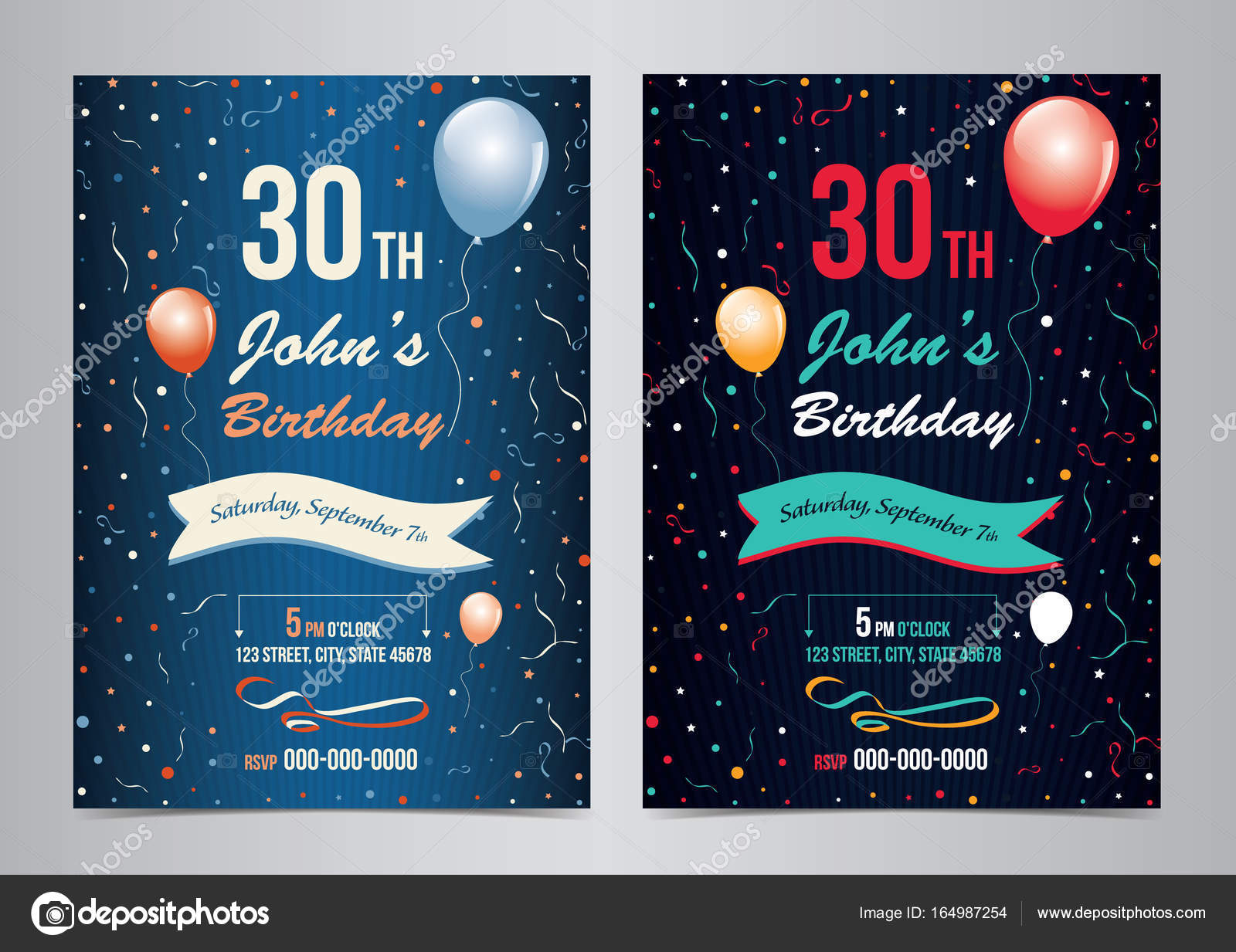 birthday party invitation layout template vector illustration