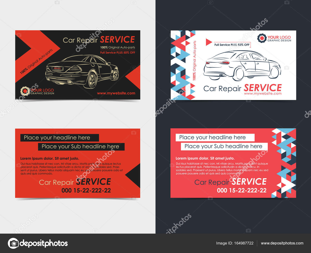 Satz Von Automotive Service Visitenkarten Layout Vorlagen