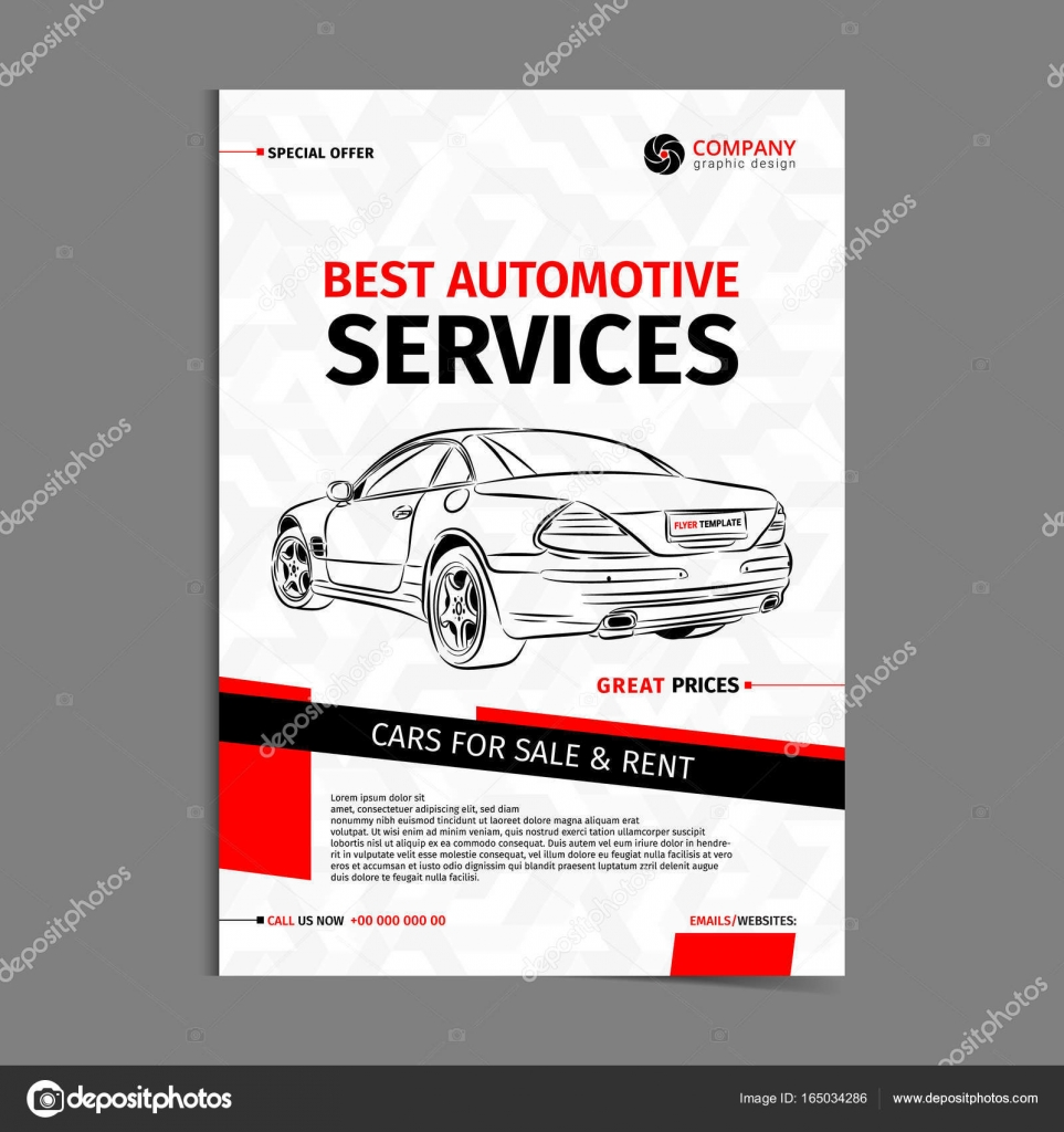 Automotive Services Layout Template, Cars For Sale U0026 Rent Brochure, Mockup  Flyer. Vector  Car For Sale Template