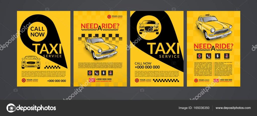 Taxi servicio de recogida diseño conjunto de plantillas de diseño ...