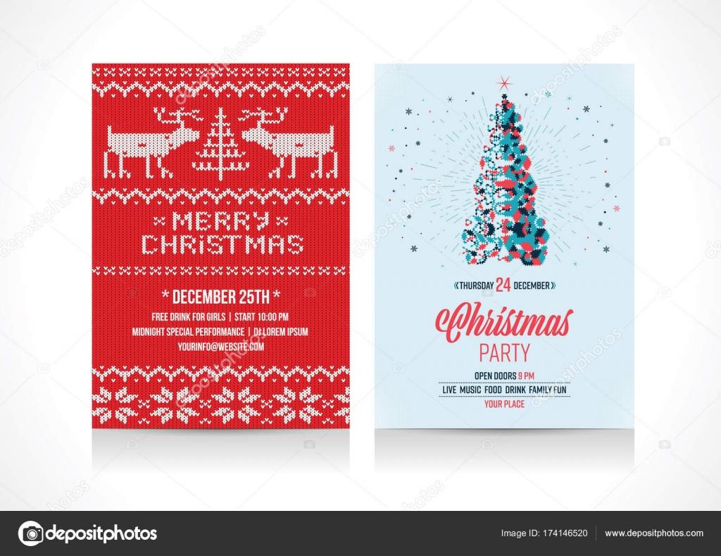 christmas holiday invitation template flyer vector illustration