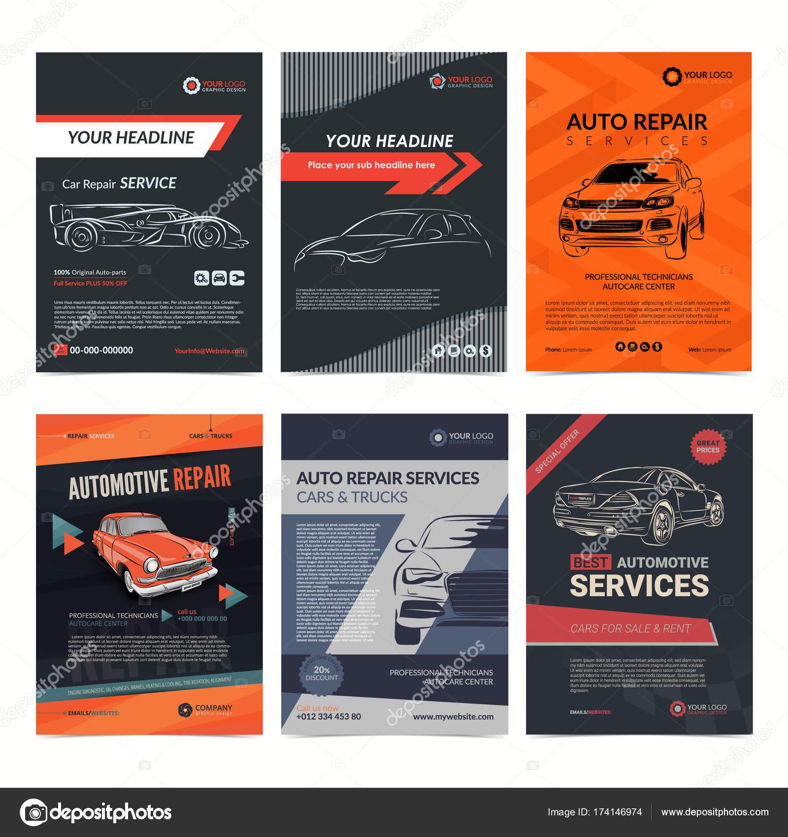 Auto-Reparatur-Services Business-Layout-Vorlagen-Set, Automobil ...