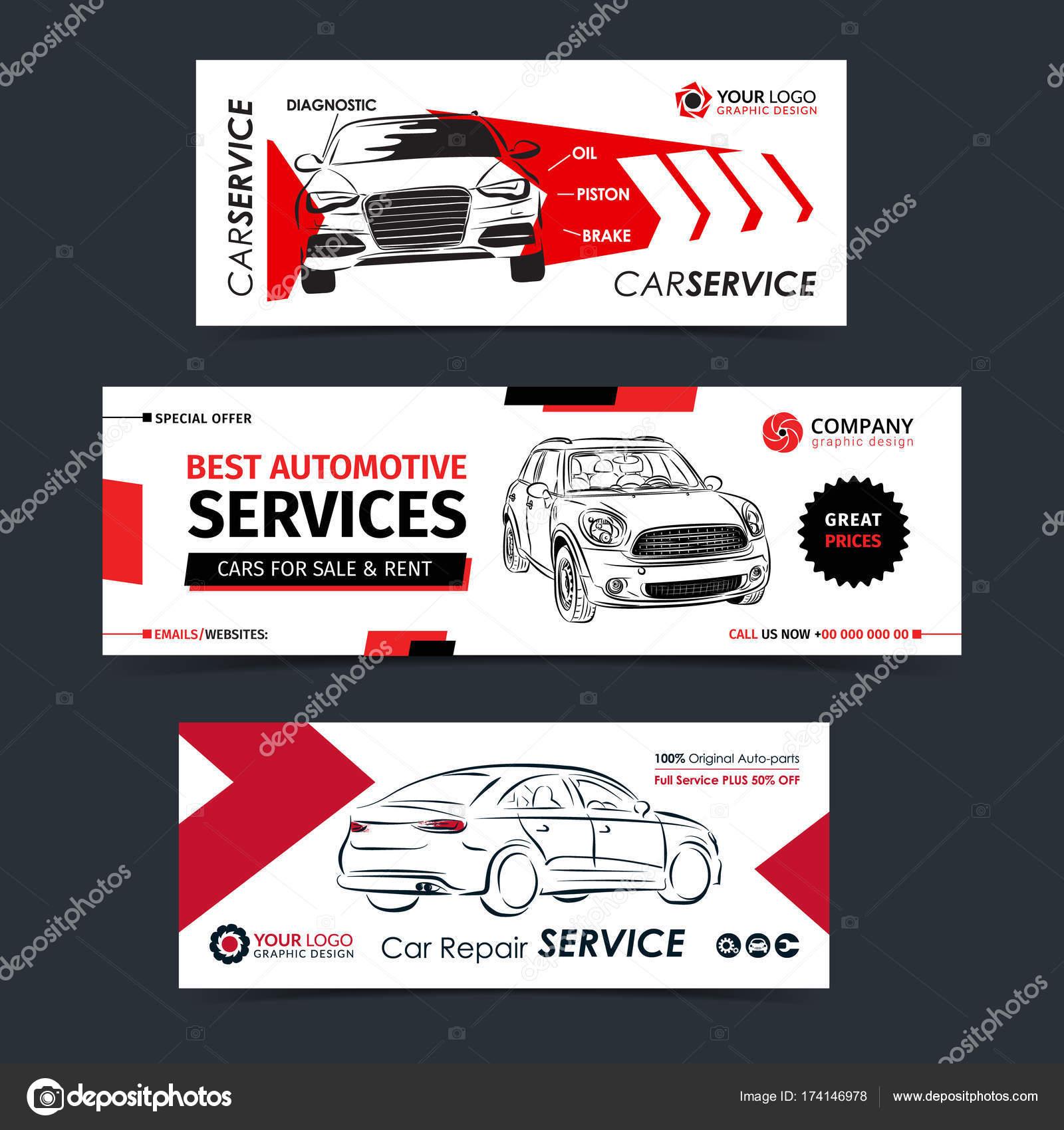 Satz von Auto-Reparatur-Service-Banner, Poster, Flyer. Auto Service ...