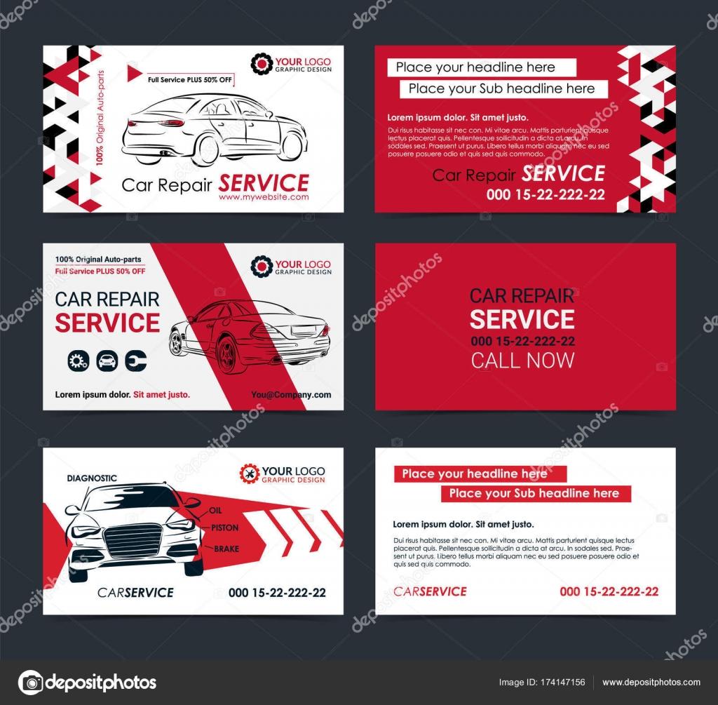 Satz von Automobil-Service-Visitenkarten-Layout-Vorlagen. Erstellen ...