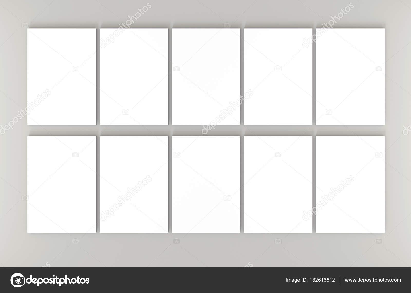 Diez blanco A4 hojas de papel sobre fondo gris. Render 3d de alta ...