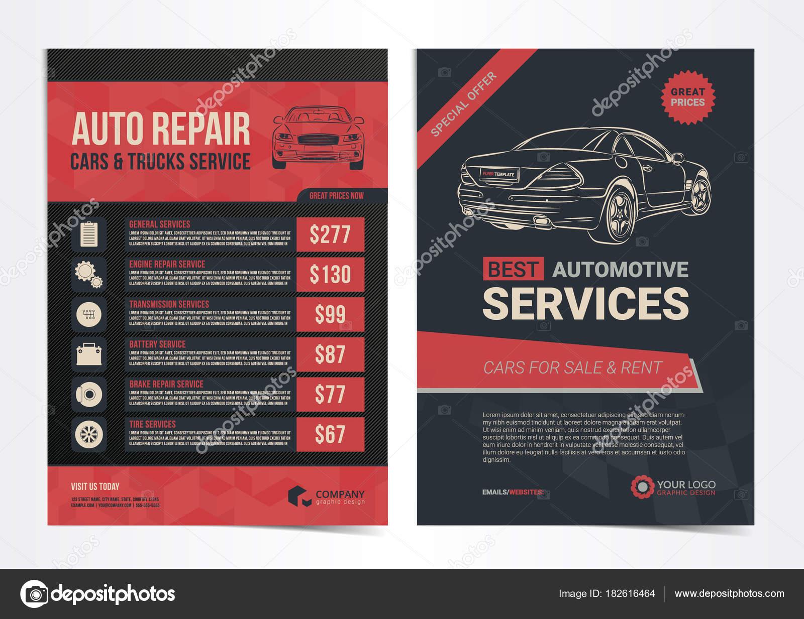 Conjunto de plantillas de diseño de Auto reparación de coches y ...