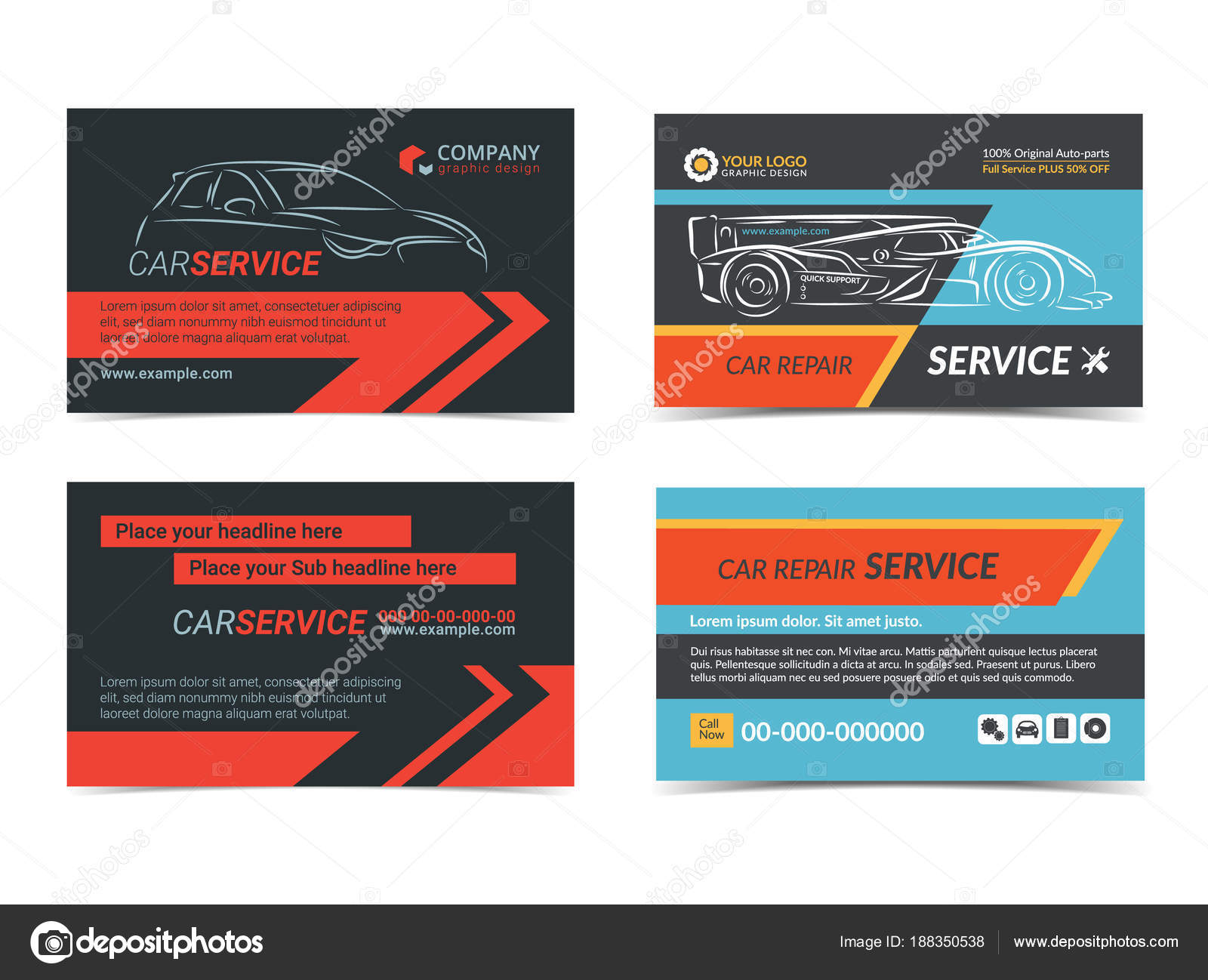 Set of Automotive repair Service business cards layout templates ...