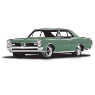 Green 60's Classic Muscle Car
