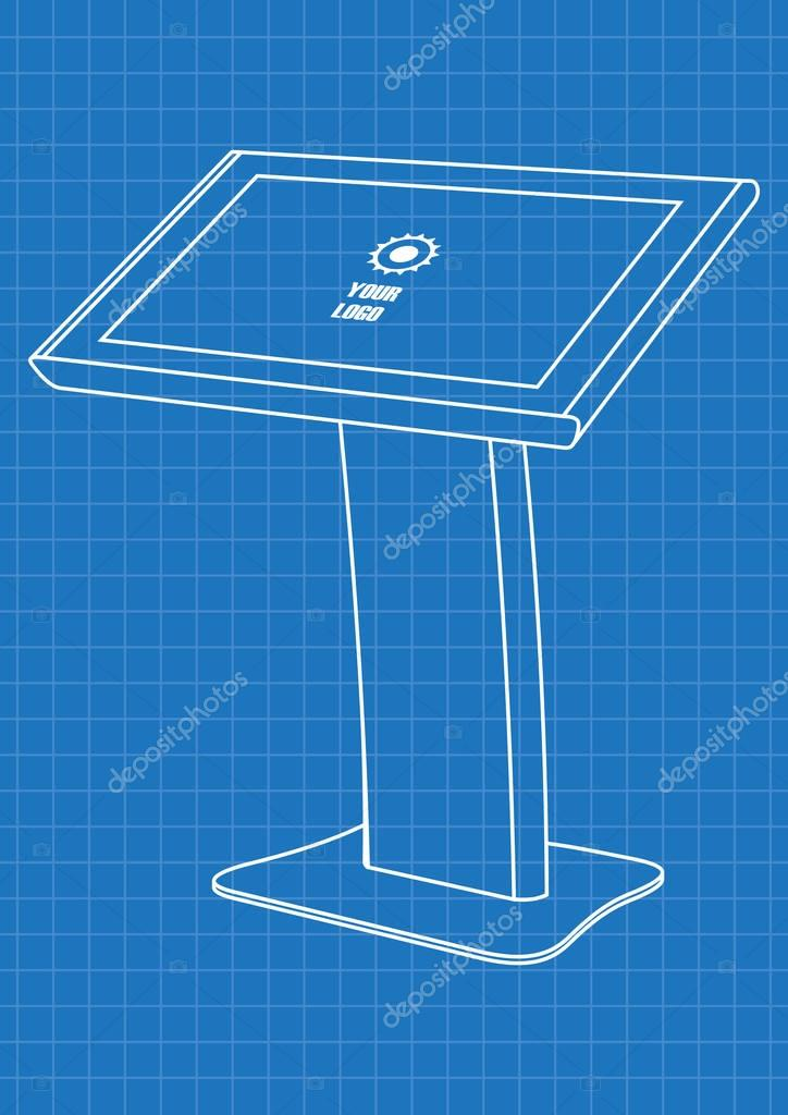 Blueprint of promotional interactive information kiosk terminal blueprint of promotional interactive information kiosk terminal stand touch screen display mock up template malvernweather Choice Image