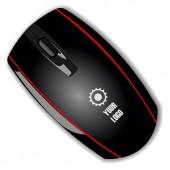 Černá počítačová myš na bílém pozadí