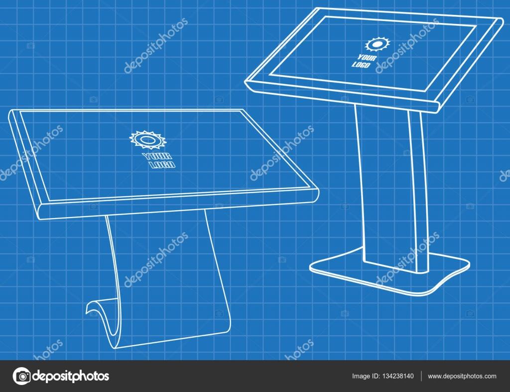 Blaupause des interaktiven Werbeinformationen-Kiosk-Terminal Stand ...
